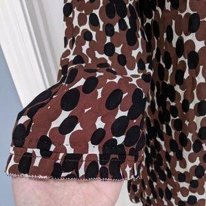 Tory Burch Tops - Tory Burch Brown Black Patterned Silk Keyhole Top